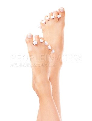 Buy stock photo Closeup of feet with toe spacers between the toes