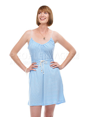 Buy stock photo Shot of an attractive young woman smiling with her hands on her hips