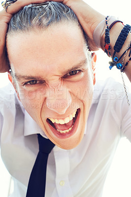 Buy stock photo Close up portrait of a young man running his hands through his wet hair
