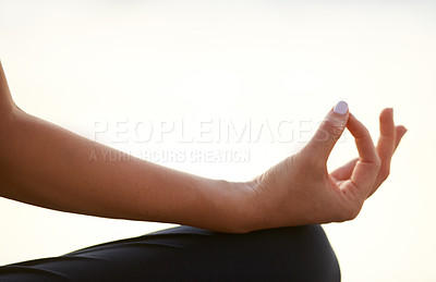 Buy stock photo Cropped view of a hand in the lotus position