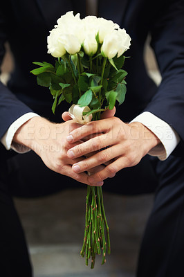 Buy stock photo A close-up on a man's hands holding a bunch of white roses
