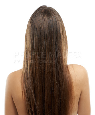Buy stock photo Rear view of a young woman with long, luxurious hair isolated on a white background