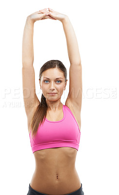 Buy stock photo A lovely young woman stretching while isolated on a white background