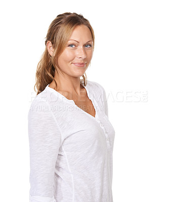 Buy stock photo A young woman standing and smiling at the camera