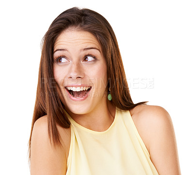 Buy stock photo Studio shot of an attractive young woman looking surprised against a white background