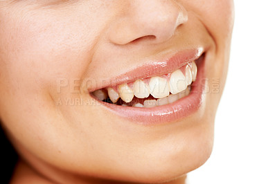 Buy stock photo Closeup shot of a smiling young woman isolated on white