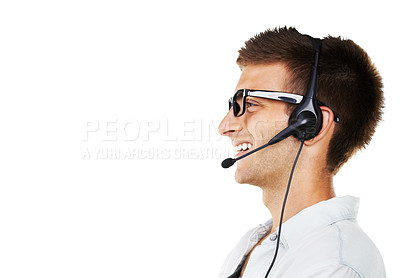 Buy stock photo Side view of a smiling man with his headset on with a white background