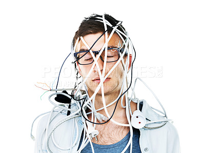Buy stock photo A man with glasses on tangled in a bunch of wires with a white background