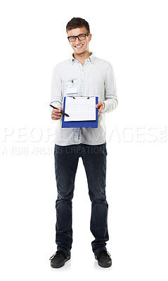 Buy stock photo Full length studio portrait of a young man holding a clipboard isolated on white
