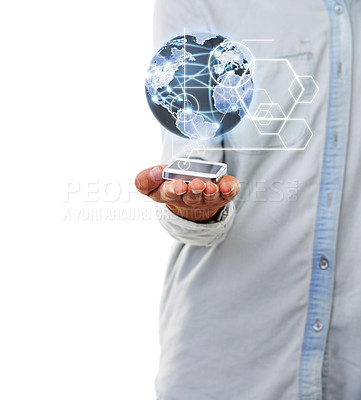 Buy stock photo A close up of a man's hand holding a digital world globe with a white background