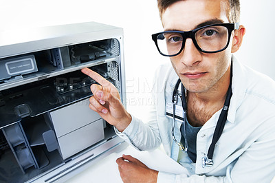 Buy stock photo Portrait of a technician working with wires on fixing an electrical appliance