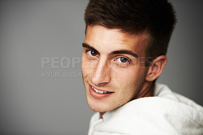 Buy stock photo A smiling male looking at the camera