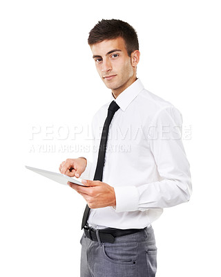 Buy stock photo Portrait of a man holding a touchscreen with a white background