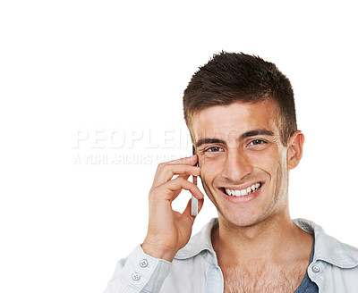 Buy stock photo A smiling man talking on his cellphone with a white background