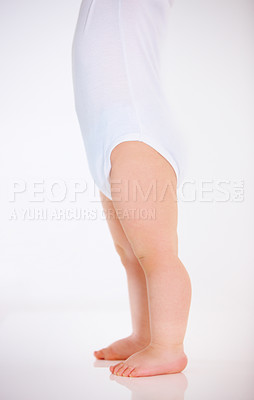 Buy stock photo Cropped studio shot of a baby's legs