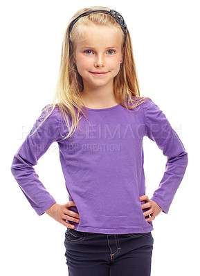 Buy stock photo Sweet little blonde girl posing confidently against a white background