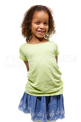 Buy stock photo Cute little african american girl standing against a white background