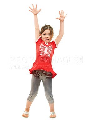 Buy stock photo Cute little girl expressing excitement against a white background - full length