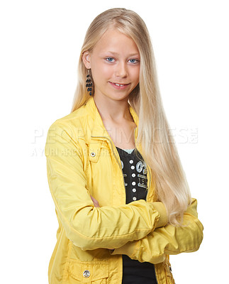 Buy stock photo Shot of a young blonde girl wih her arms crossed, isolated on white
