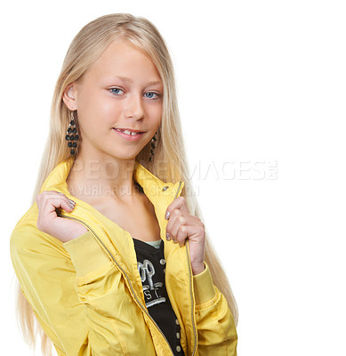 Buy stock photo Shot of a young blonde girl looking stylish, isolated on white