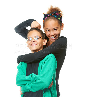 Buy stock photo Studio portrait of a two siblings isolated on white