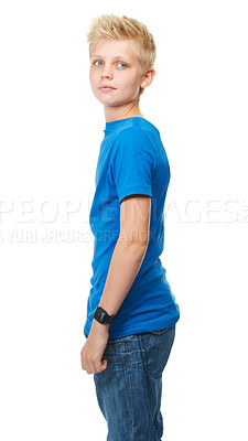 Buy stock photo Cropped studio shot of a blond teenage boy against a white background
