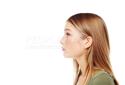 Buy stock photo Profile of a gorgeous teenager