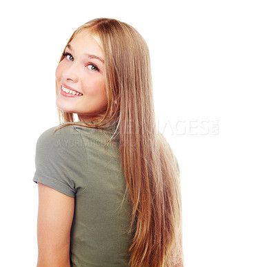 Buy stock photo A beautiful teenager peeking over her shoulder