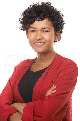 Buy stock photo Portrait of a beautiful young woman with her arms crossed