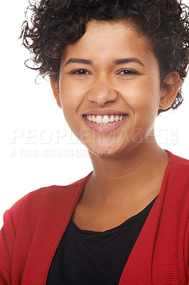 Buy stock photo Portrait of a gorgeous young woman smiling at the camera
