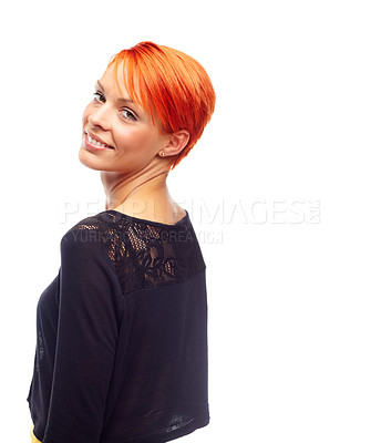 Buy stock photo A young redheaded woman isolated on a white background