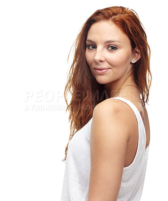 Buy stock photo Portrait of a beautiful redhead looking over her shoulder