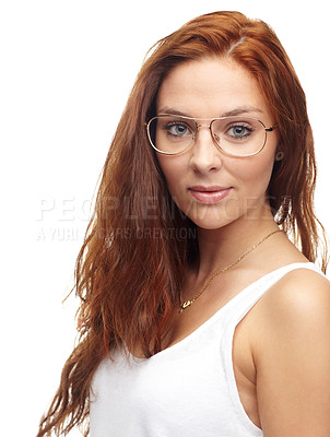 Buy stock photo Portrait of trendy young woman holding wearing spectacles