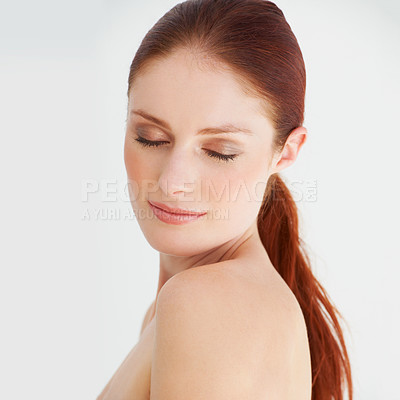 Buy stock photo Portrait of a serene young woman