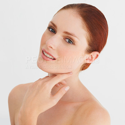 Buy stock photo Portrait of a beautiful woman touching her face