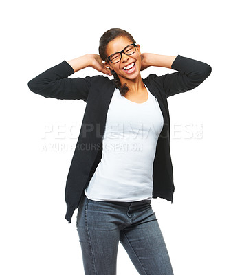 Buy stock photo Studio shot of an smiling teen posing against a white background