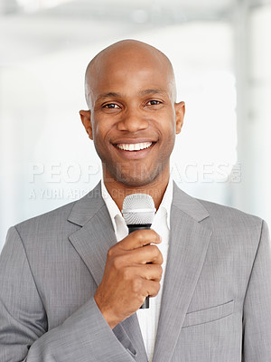 Buy stock photo A young businessman is confident in his presentation