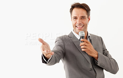 Buy stock photo A motivational speaker reaching out