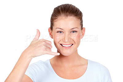 Buy stock photo A beautiful young woman telling you to call her while isolated on white