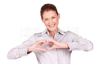 Buy stock photo Portrait of a pretty young woman showing you a heart-shape with her hands