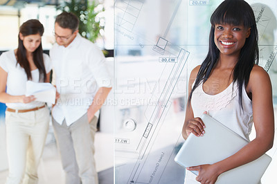 Buy stock photo Cropped shot of a young businesswoman standing in the office while her colleagues work in the background