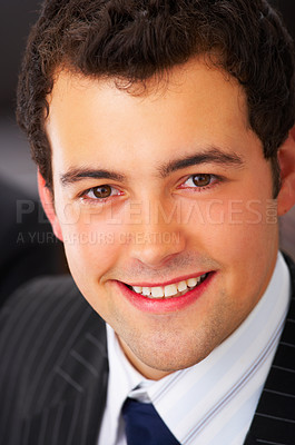 Buy stock photo Portrait of a handsome young man in a business suit.