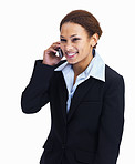 Happy business woman using cellphone on white