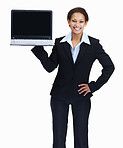 Happy female entrepreneur displaying a laptop on white