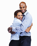 Smiling business couple hugging on white background
