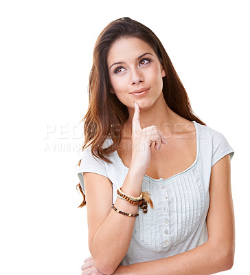 Buy stock photo A lovely young brunette looking away thoughtfully while isolated on white