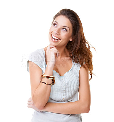Buy stock photo A pretty young brunette looking away excitedly while isolated on a white background