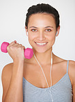Music makes her workout easier