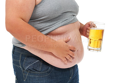 Buy stock photo Cropped midsection of an obese man with his top pulled up and holding a beer