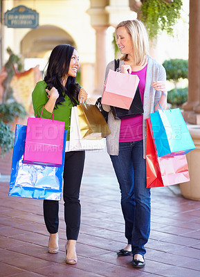 Buy stock photo Full length image of two woman on a shopping spree